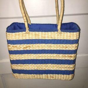 Handbags - CORNHUSK & PAPER STRING WOVEN BAG. BLUE& OFF-WHITE